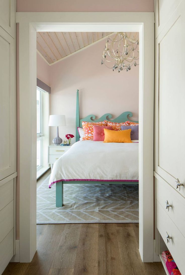colorful coastal bedroom by studio80 interior design