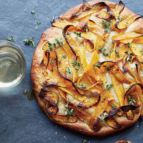 Michelle Gayer tops her sensational focaccia with sweet, tender strips of roasted butternut squash scattered with thyme and drizzled with honey.