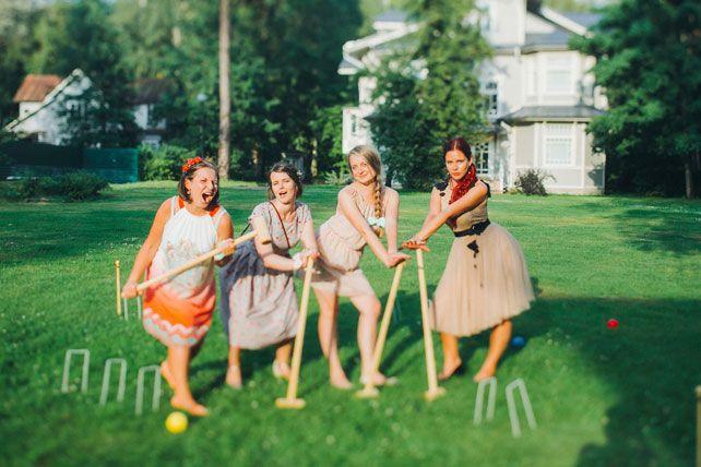 Фуршетная свадьба, игра в крикет