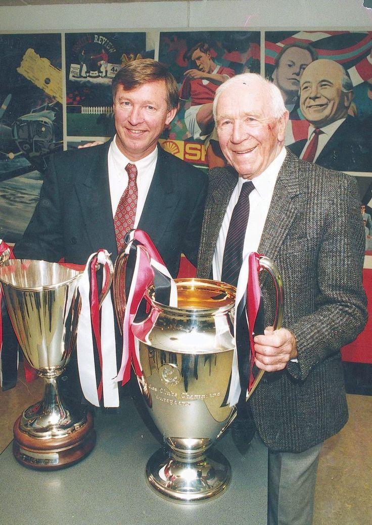 Sir Alex Ferguson and Sir Matt Busby Holding the European trophies in 1991