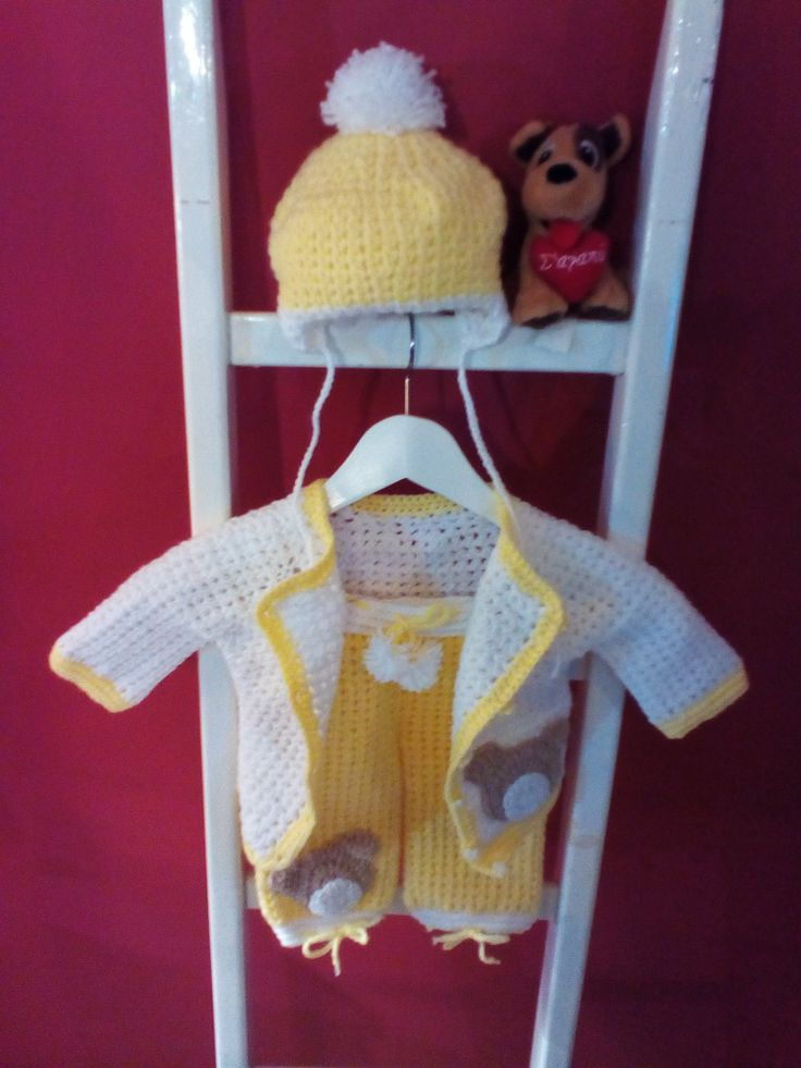 Set baby crochet,Jacket, pants and helmet by stellaknittingshop on Etsy