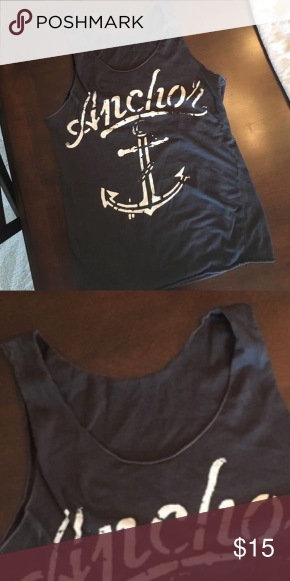 Nautical Navy Blue White Anchor Tank Top M Nautical Navy Blue White Anchor Tank Top M. Casual and cool. Perfect for a vacation. No tag but is a medium.  Shirt Top Blouse.  Cami tank. Tops Tank Tops