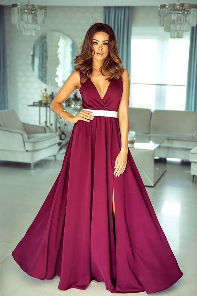 4a6a473344 Długa Suknia z Błyszczącym Paskiem Gabi Bordo w 2019