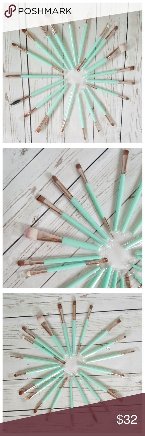 20pc Makeup Brush Tools Set- Mint Green & Gold 100% Brand new & high quality make-up brush set. Material: Goat Hair. Handle Material: Wood. Brush Material: Synthetic Hair. Professional quality brush set which includes all the basics for daily applications. Items included: Foundation Powder Brush, Lip Brush, Mascara Brush, Eyeshadow Brush, Two Sided Brushes, Eyebrow Mascara Brush, Sponge Brush, Smudge Brush, Nose Shadow Brush, Eyeliner Brush. Each brush packaged individually. Color:  Mint…