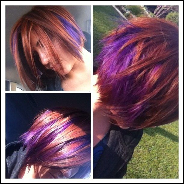 Beautiful Multidimensional copper base with super vibrant purple peekaboo color blocking. Hair by Nina Minardi
