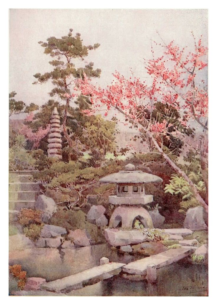 """An Old Garden"" by Ella Du Cane shows the care and dedication the old-school Japanese gardeners gave to their gardens. Stunningly beautiful, this print shows how much attention to detail Ella gave to her paintings."