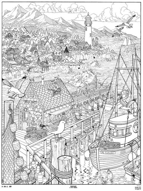 Seascape doodle art colouring poster this was uploaded by - Poster coloriage ...