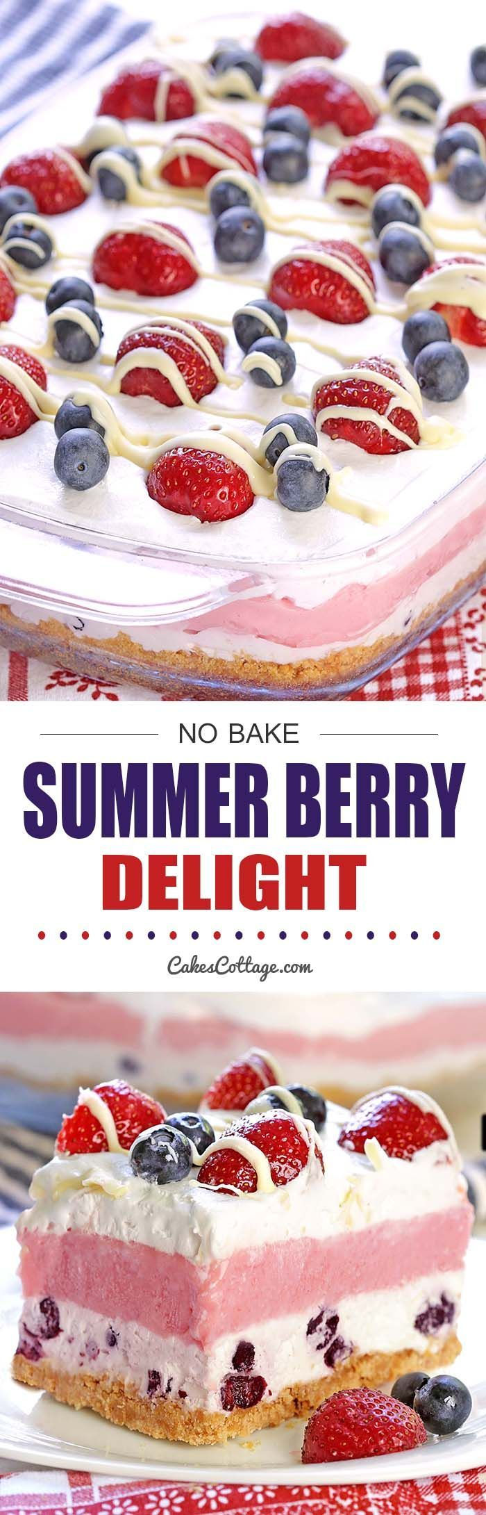 No Bake Summer Berry Delight - A perfect red, white, and blue no bake summer berry delight for your summer holiday celebrations.