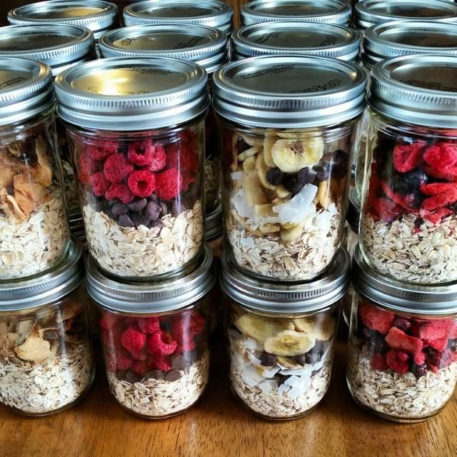 instant oatmeal jars. Use rolled oats and freeze dried fruit. Add 1c boiling water or almond milk and let sit for 15 mins.