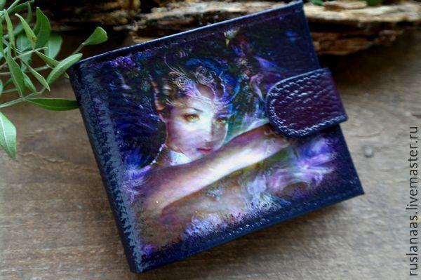 Купить Кошелёк натуральная кожа с картинкой декупаж авторская ручная работа - рисунок, кошелек с рисунком