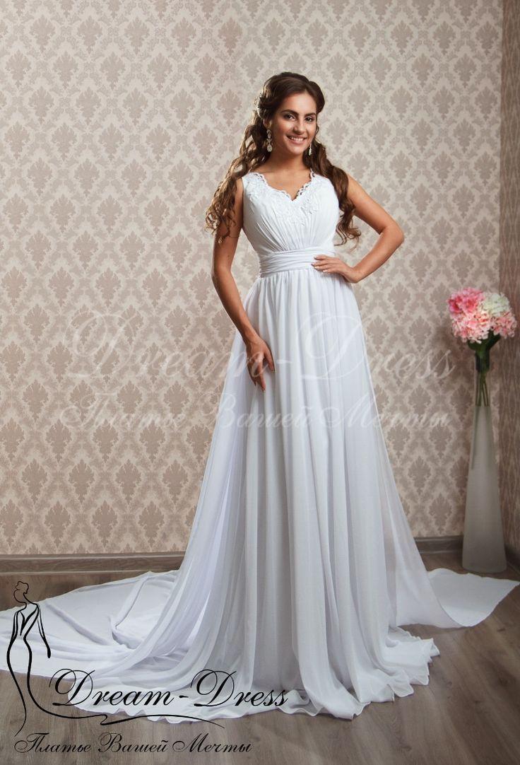 Florence / Свадебные платья / Каталог товаров Свадебное платье в греческом стиле с открытой спинкой, декорированной кружевом и шифоновой юбкой со шлейфом. В наличии изделие белого цвета, размер 42-44-46. На заказ возможен любой цвет и размер