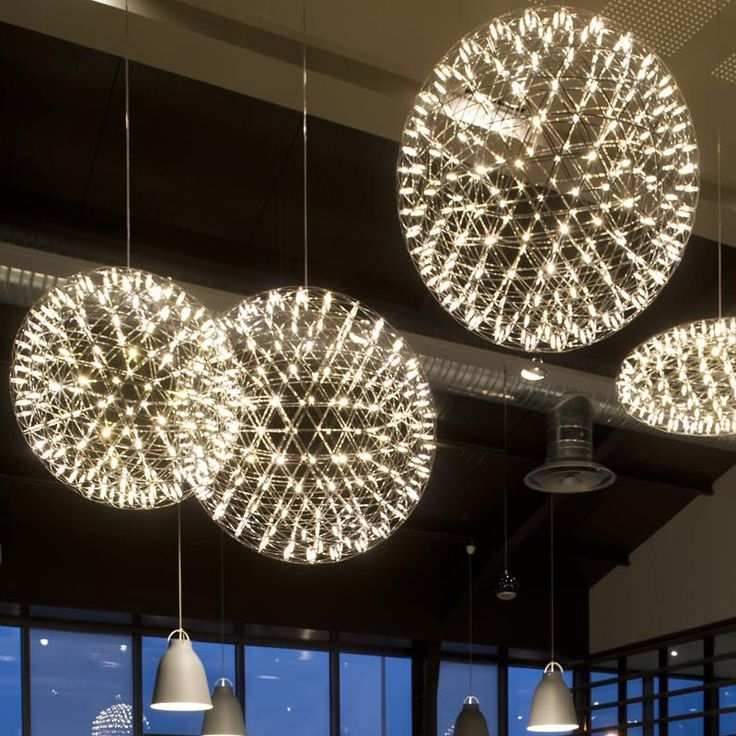Modern Pendant Lamp LED Firework Ball Lights Silver Table Hanging Lamps Globe Light Fixtures Lustre For Kitchen Bar