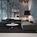 Charming Living Room Design Ideas with Concrete Walls