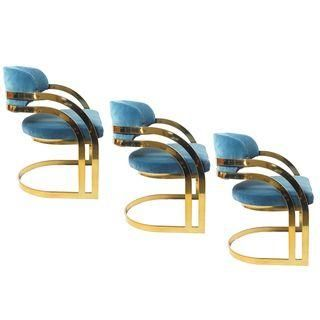 Milo Baughman Attri. Brass Armchairs - Set of 3