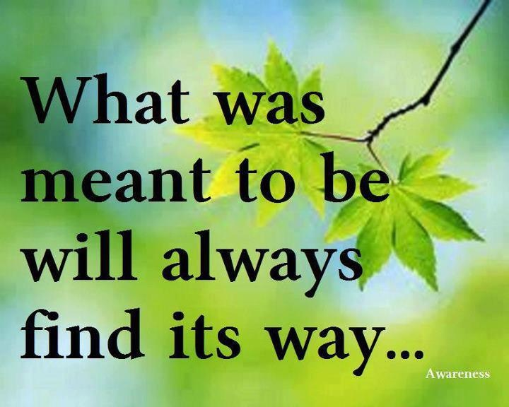 What is meant to be...