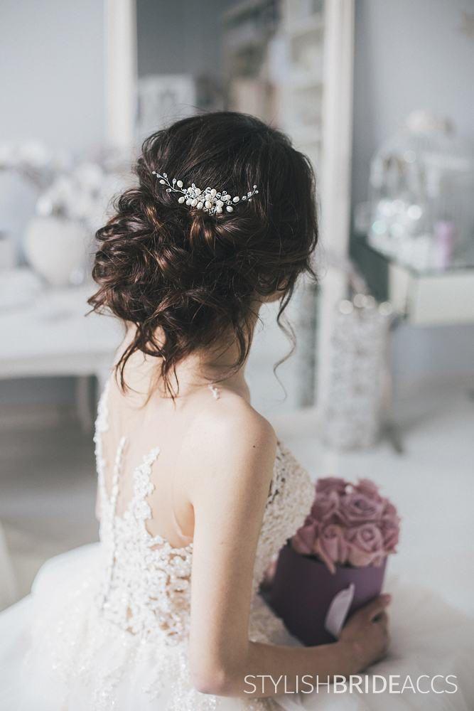 Wedding Hair Comb Natural Pearls, Bridal Hair Comb,Wedding Freshwater Hair Comb,Wedding Hair Accessories,Crystal Hair Comb,Bridal Hair Piece by StylishBrideAccs on Etsy