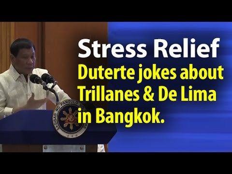 Duterte Jokes about Trillanes & De Lima in Thailand ~SHARE - WATCH VIDEO HERE -> http://dutertenewstoday.com/duterte-jokes-about-trillanes-de-lima-in-thailand-share/   I created this video with the YouTube Video Editor ( News video courtesy of The Storyteller YouTube channel  Disclaimer: The views and opinions expressed in this video are those of the YouTube Channel owners and do not necessarily reflect the opinion or position of the site owners/FB admins.