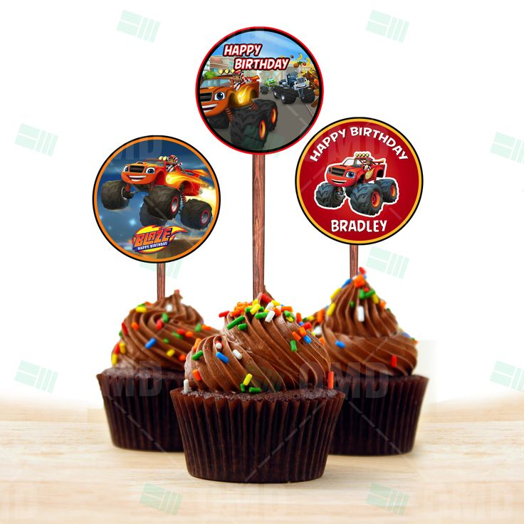 Blaze And The Monster Machines Cupcake Toppers #cartooninvites