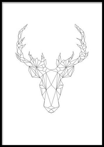 Affisch med rådjur i geometriska former. Grafiska tavlor.
