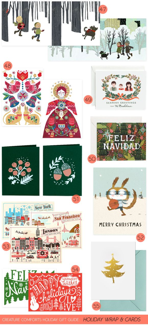 Creature Comforts Holiday Gift Guide: Holiday Wrap +Cards | Find links for all picks on Creature Comforts Blog