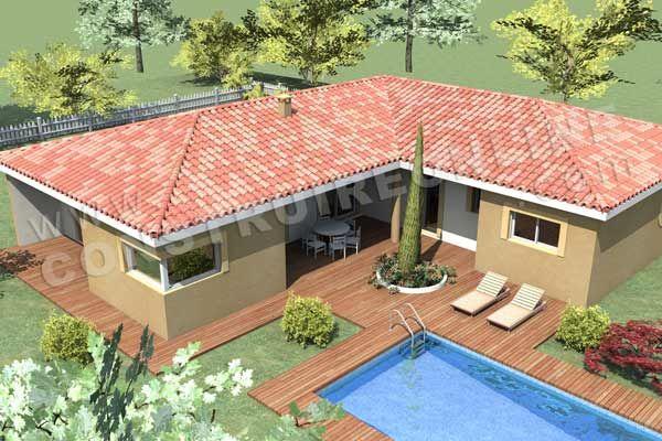 Plan de maison en l moderne pyla vue 600 400 for Modele de maison moderne en algerie