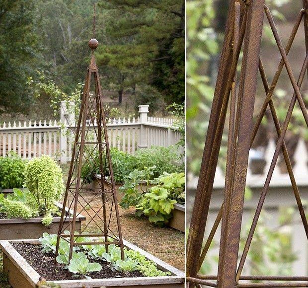 "Pyramid Obelisk Garden Trellis -- folds for easy assembly & storage 21"" x 21"" x 96"" H $132"