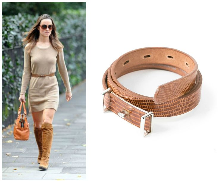 #PickOfTheDay Spice up your sweater dress with this GMR Skinny Belt and wear it with your favorite brown boots, just like Pippa Middleton.   Get it here: http://bit.ly/1yHMUtI