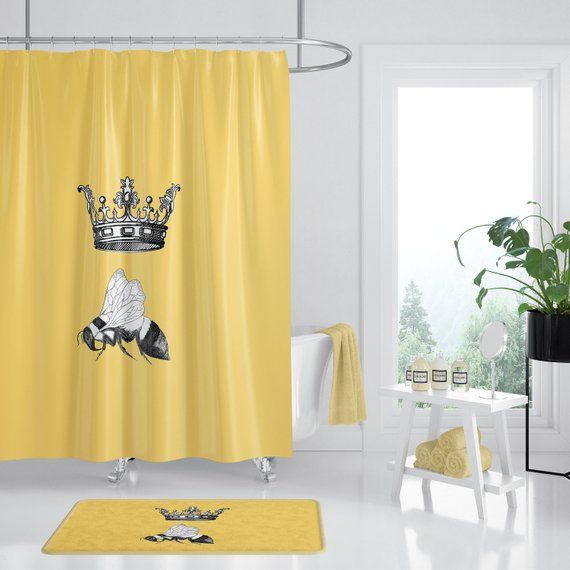 Queen Bee Shower Curtain Yellow Fabric Lady Boss For Her Yellow And Black Bee Shower Yellow Fabric Shower Curtain