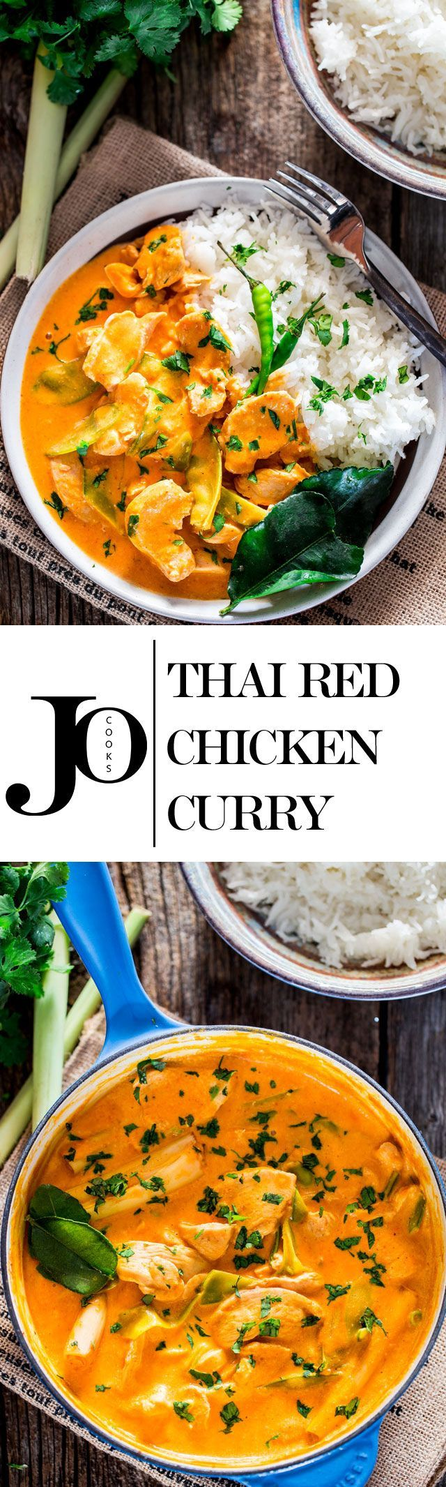 This Thai Red Chicken Curry is incredibly delicious, so easy to make with bite size chicken pieces, snow peas and simmered in a red curry and coconut milk sauce. Thai cooking in under 30 minutes and all in one pot!