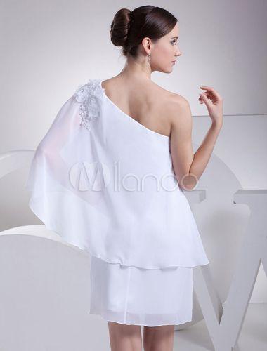Blanc de demoiselle d'honneur robe une épaule appliques perles fleur gaine genou longueur robe de mariée-No.5