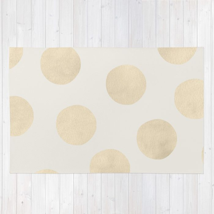 Gold Polka Dots Area Throw Rug By Georgiana Paraschiv