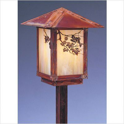 "Arroyo Craftsman ESP-7F Evergreen 7"" Outdoor Post Lantern with Filigree by Arroyo Craftsman. $338.00. Arroyo Craftsman ESP-7F Features: -Evergreen collection. -Available in several finishes. -Available in several shade colors. -Available filigree in Pine Needle and Sycamore. -UL listed. -Suitable in wet location. Specifications: -Accommodates: 1 x 60W A-19 incandescent bulb. -Stem: 11.13"" H x 1"" W x 1"" D. -Overall dimensions: 19.5"" H x 7"" W. Note: Arroyo Craftman items with A..."