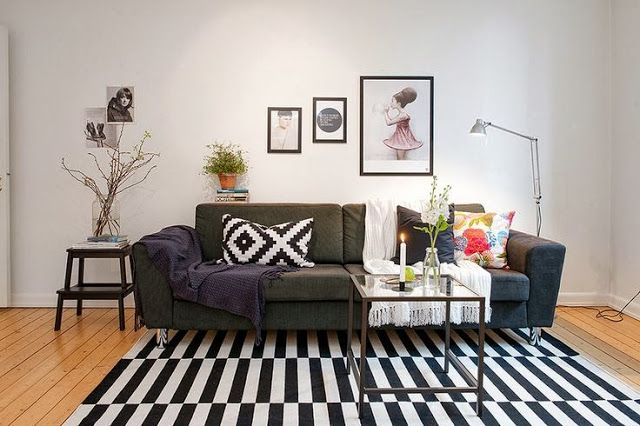 Ikea black and white Lappljung ruta pillow and Stockholm rug...