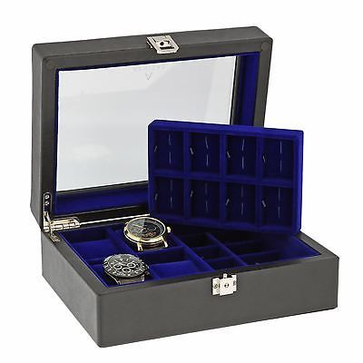 16 Cufflinks and 4 Piece Watch Collectors Box Genuine Black Leather by Aevitas *    * About Us  * Payment  * Delivery  * Returns  * Contact Us  Show Menu * Watch Boxes  * Watch Winders  * Jewellery Boxes  * Stackers  * Gifts For Him  * Gifts For Her  * Other Items   *   *   *   *   *    *   *   *   *   *   16 CUFFLINKS AND 4 PIECE WATCH COLLECTORS BOX GENUINE BLACK LEATHER BY AEVITAS Product Details:  Superb Quality and Design, the luxury look of this Black Genuine Leather watch box is just…