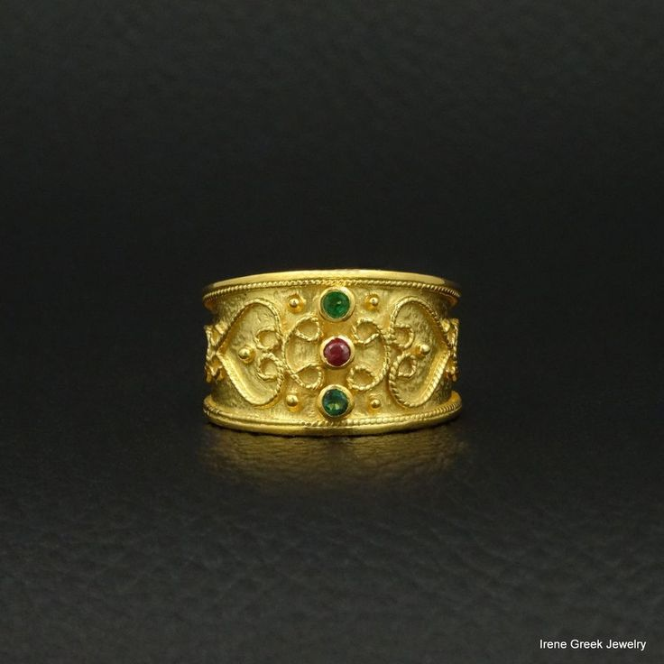 NATURAL EMERALD RUBY BYZANTINE STYLE 925 STERLING SILVER GREEK HANDMADE ART RING #IreneGreekJewelry #Band
