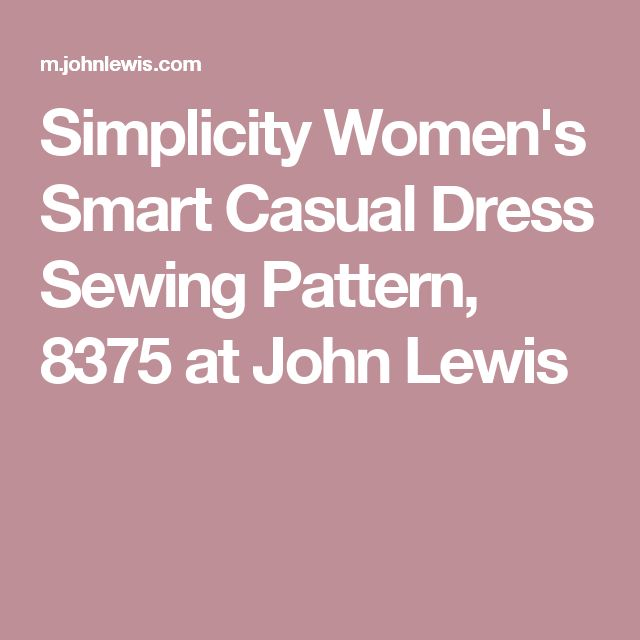 Simplicity Women's Smart Casual Dress Sewing Pattern, 8375 at John Lewis