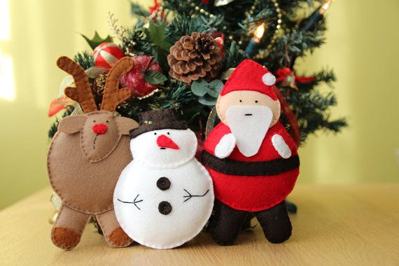 Santa Claus Snowman and Reindeer softies hand stitched by euquefiz, €30.00