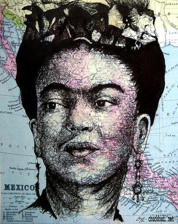 Frida Kahlo - Original Drawing - Surreal Artist Mexico Hispanic Mexican Pop Art Salvador Dali Women Map Pop Art Fantasy Lowbrow