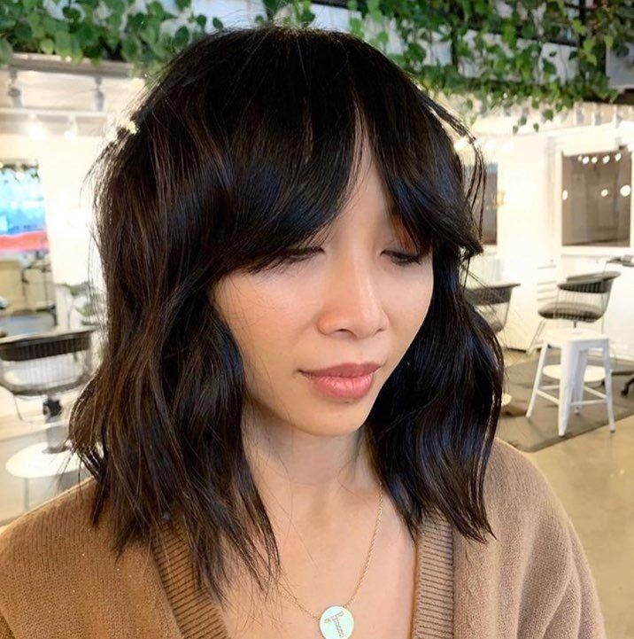 "Ceremony Salon on Instagram: ""Took off some length for a chic, textured bob and did a bang relocation from the side to middle-part curtain fringe by..."