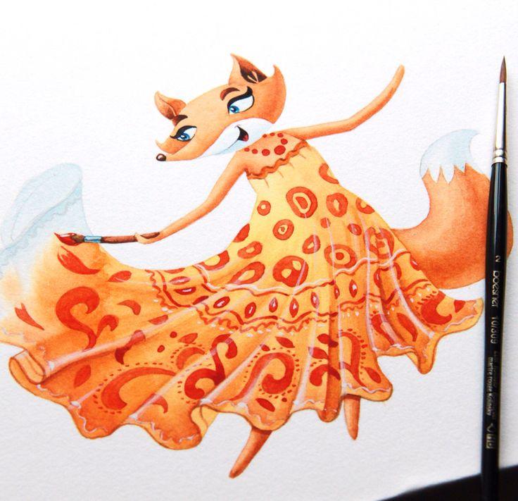 Fox the artist #illustration #art #character #watercolor #fox #artctopus #alexzotov