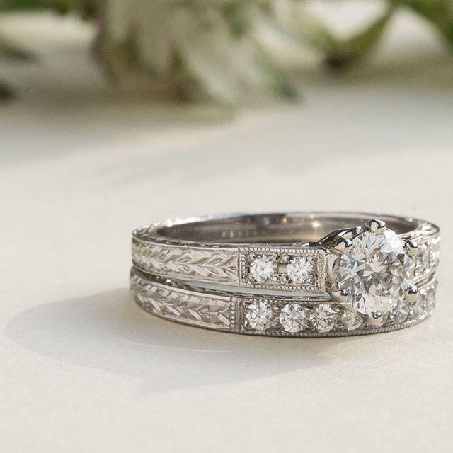 Engraved Diamond Wedding Ring With Nine Diamonds Hand Engraved Engagement Rings Art Deco Engagement Ring Unusual Wedding Rings