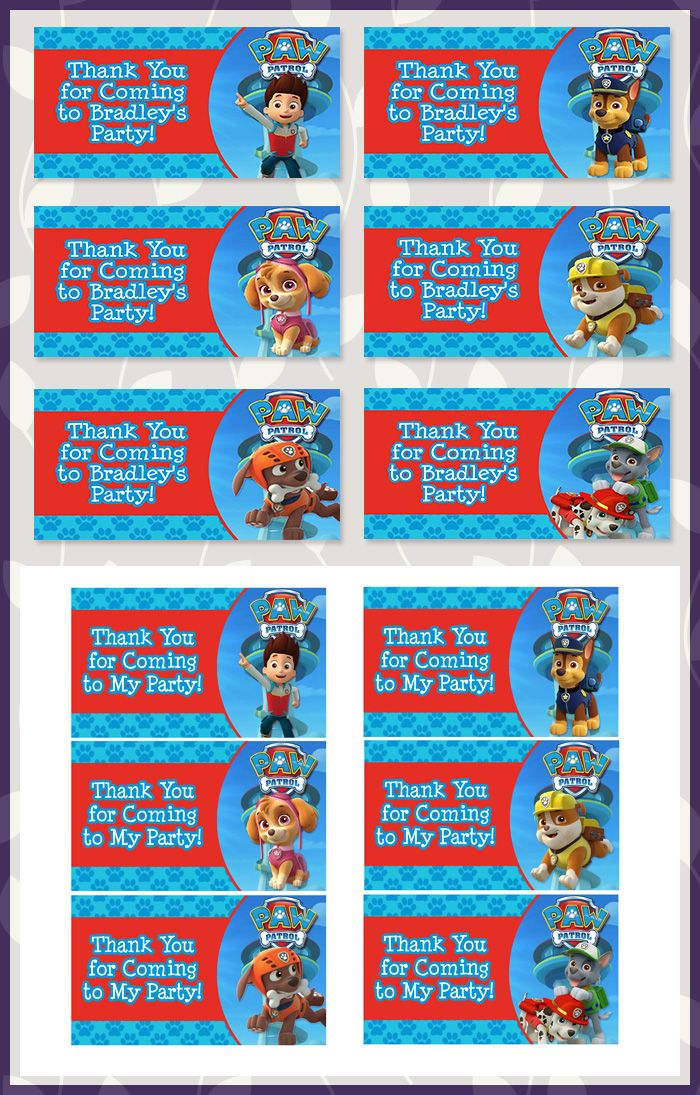 Paw Patrol Party Tags Blue * Paw Patrol Favor Tags * Paw Patrol Party Favors…
