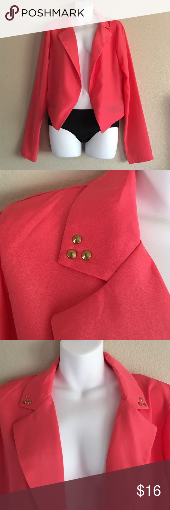 Bingo coral stud blazer This blazer features gold studs on the color.  Size large BONGO Jackets & Coats Blazers