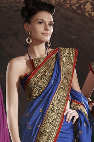 Glamour dark blue artificial silk saree