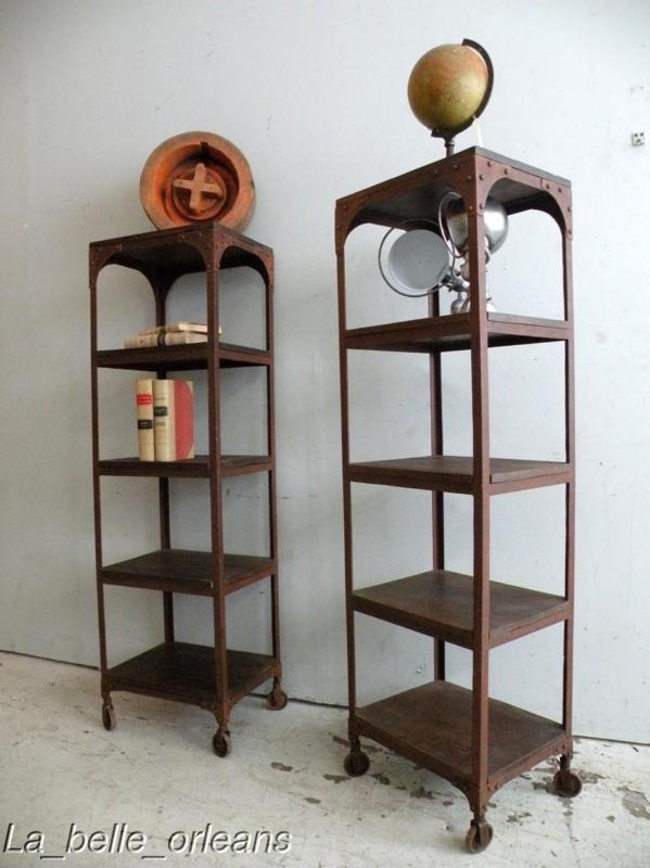 Pair Of Vtg Etagere Bookcases On Wheels Design Pinterest Metal Vintage And