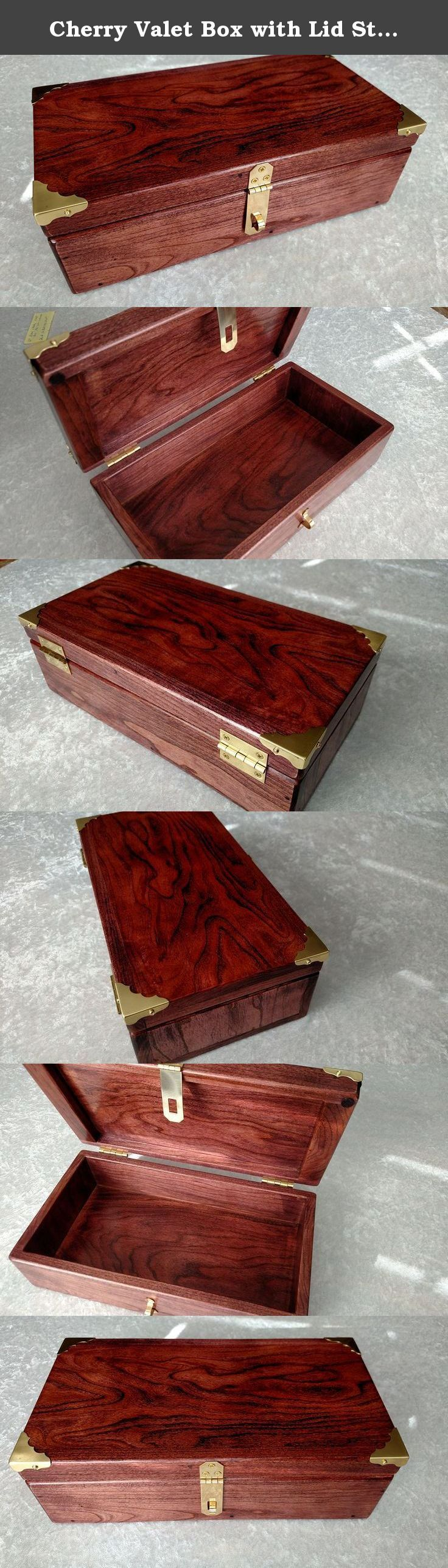 """Cherry Valet Box with Lid Stash Box Keepsake Box. Cherry Valet Box, keepsake box, stash box, made from solid .5"""" Cherry ,measures 12 x 6.5 x 3.75 . Box has a black cherry stain with lacquer finish. Wood grain will vary as each piece is unique. Lockable Solid brass hardware.Great storage for all of those special items ."""