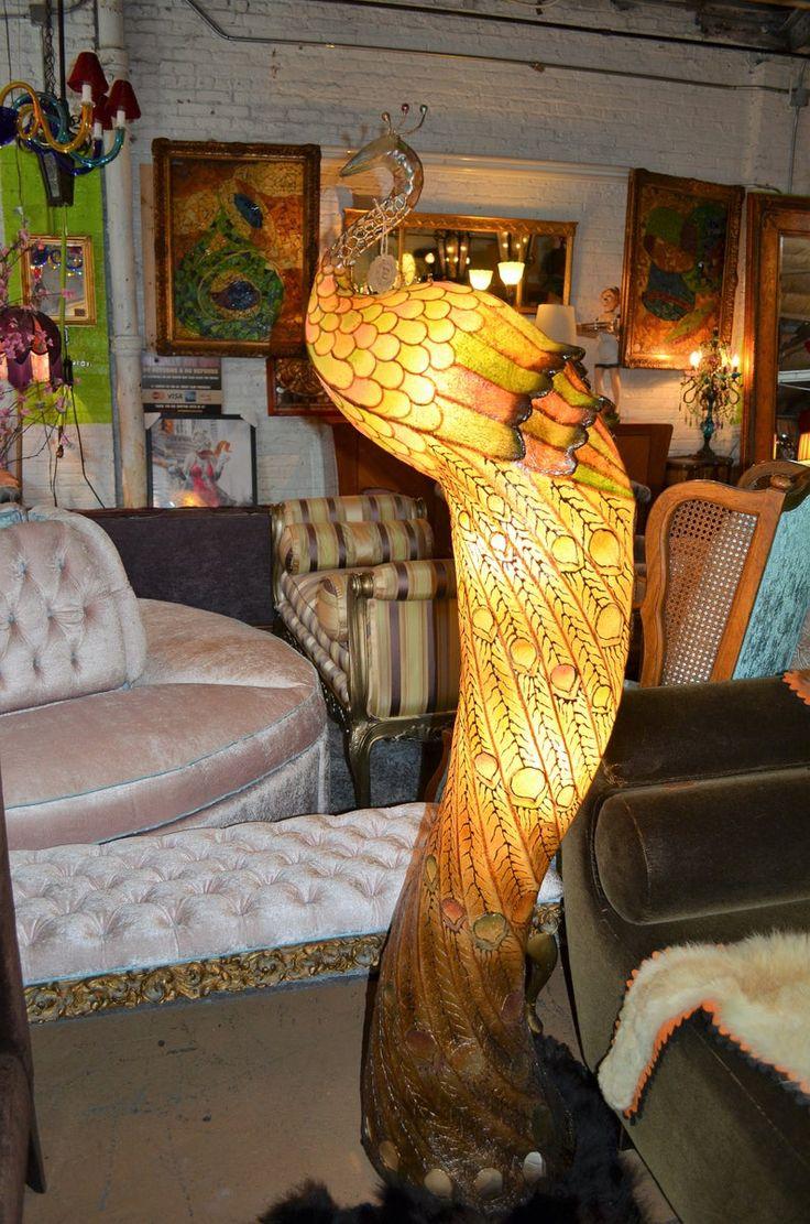 Vintage Multicolor Peacock Shaped Floor Lamp Etsy Unique Floor Lamps Floor Lamp Flooring