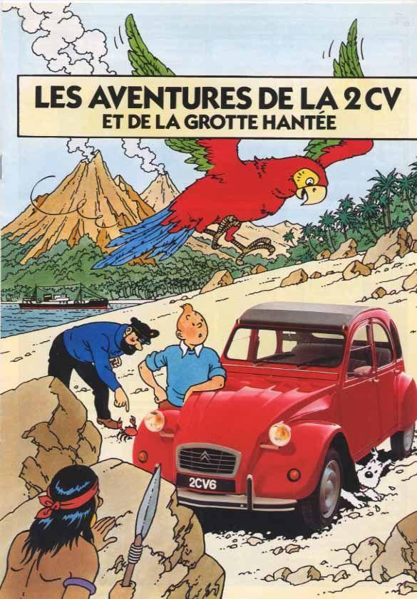 """Brochure Tintin  couverture """"les aventures de la 2cv et de la Grotte Hantée"""""""