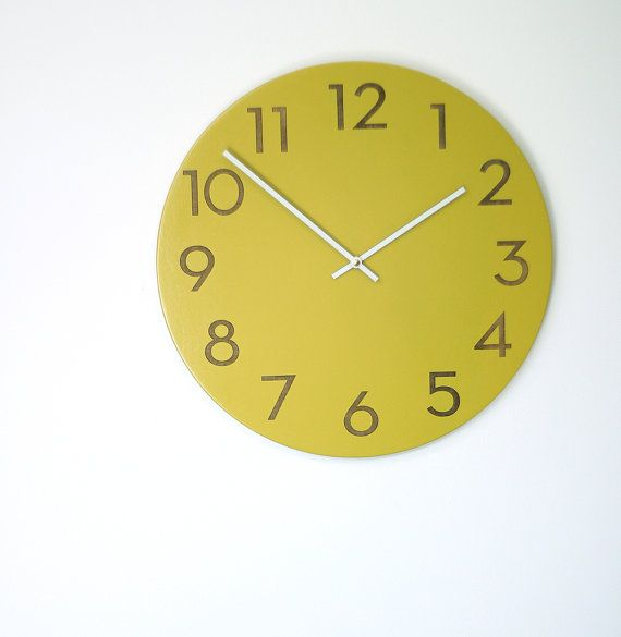 large modern wood wall clock chartreuse white or wood by uncommon, $85.00