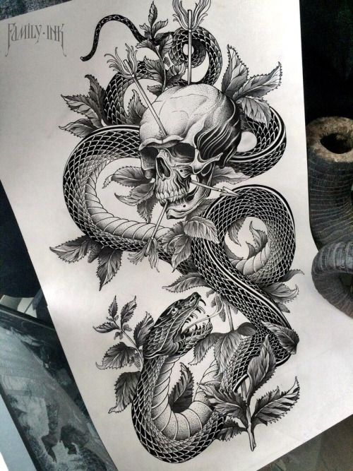 Snake with skull tattoo design